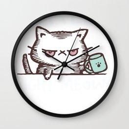 Coffee Right Meow Cat Love Kitty Fan Wall Clock