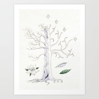 gondor Art Prints featuring The White Tree of Gondor by Mariya Olshevska