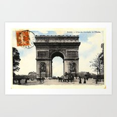 Antique / Vintage French Post Card - L'Arc De Triomphe De L'Etoile Art Print