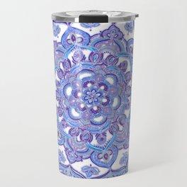 Lilac Spring Mandala - floral doodle pattern in purple & white Travel Mug