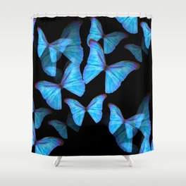 Turquoise Blue Tropical Butterflies Black Background #decor #society6 #buyart Shower Curtain