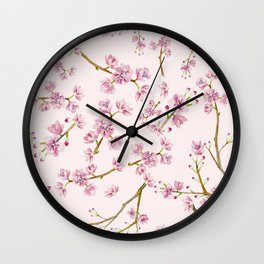 Spring Flowers - Pink Cherry Blossom Pattern Wall Clock
