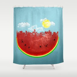 Watermelon City Shower Curtain