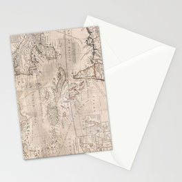 Vintage Map of The Caribbean (1732) 2 Stationery Cards