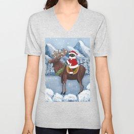 Christmas Cat and Moose Unisex V-Neck