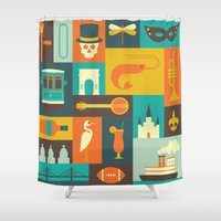 new orleans Shower Curtains featuring New Orleans by Ariel Wilson