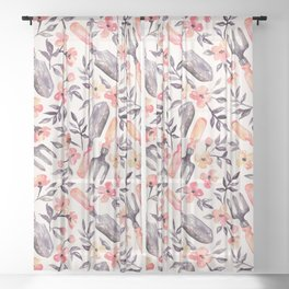 Spring Gardening - peach blossoms on cream Sheer Curtain