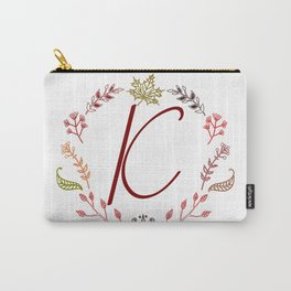 Floral K letter Carry-All Pouch