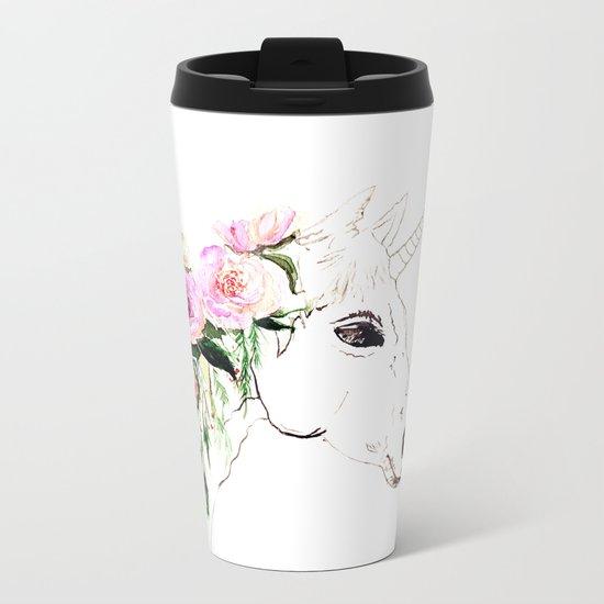 Unicorn, flowers, watercolor Metal Travel Mug