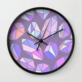 purple pink gem pattern Wall Clock