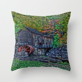 Old Grist Mill Babcock State Park WV Throw Pillow