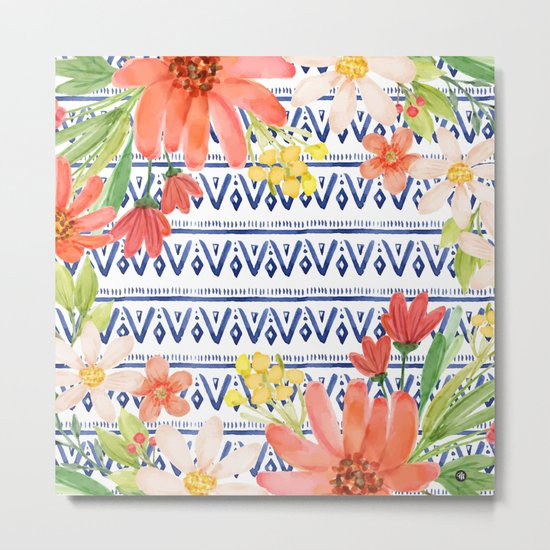 Indigo with watercolor flowers Metal Print
