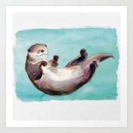 Swimming otter watercolor Kunstdrucke