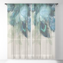 Beautiful Peacock Feathers Sheer Curtain