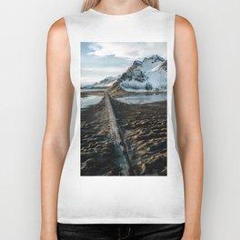 Icelandic black sand beach and mountain road - landscape photography Biker Tank
