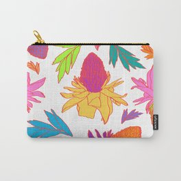 Tropical Ginger Plants in Pink + White Carry-All Pouch