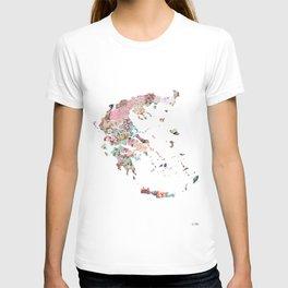 Greece map portrait T-shirt