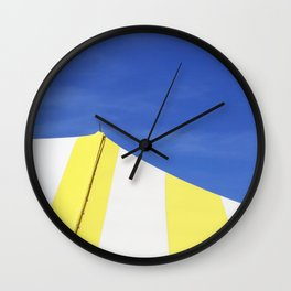 Minimalist Blue Yellow White Circus Tent Abstract Wall Clock