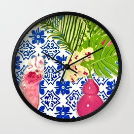 PINK PARROT AND PORTUGESE TILES Wall Clock