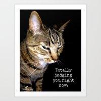Judging Cat Art Print
