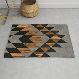 Urban Tribal Pattern No.10 - Aztec - Concrete and Wood Rug