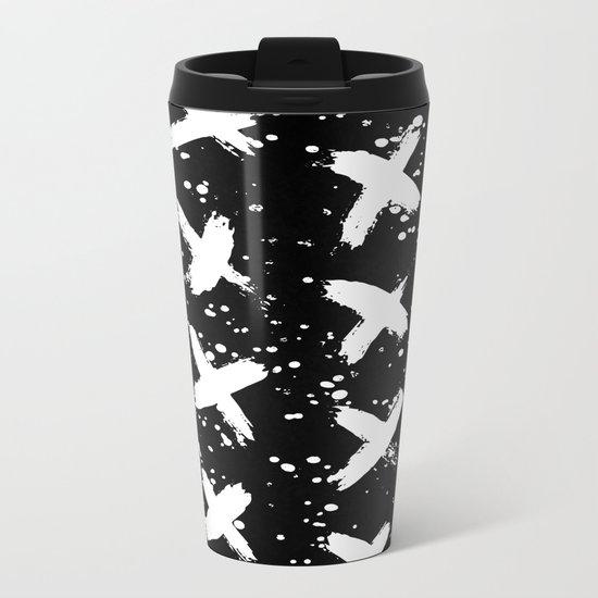 X Paint Spatter Black and White Metal Travel Mug