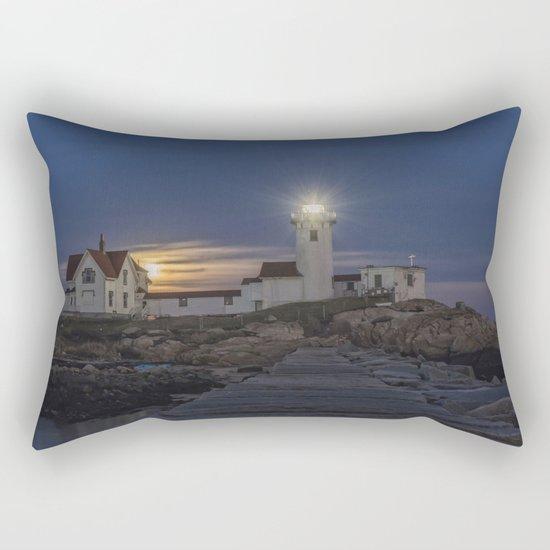 Full moon rising over Eastern point Lighthouse. Rectangular Pillow