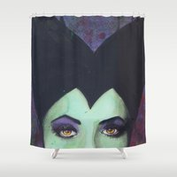 maleficent Shower Curtains featuring Maleficent  by Becca Douglas