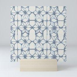 Simply Shibori Stars in Indigo Blue on Lunar Gray Mini Art Print