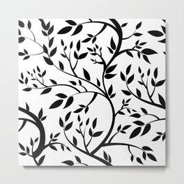 Black Trees on White Metal Print