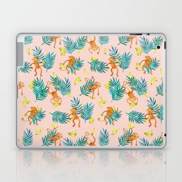 Tropical Monkey Banana Bonanza on Blush Pink Laptop & iPad Skin