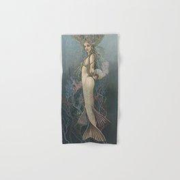 """""""Mermaid with Fan No. 3"""" by David Delamare Hand & Bath Towel"""