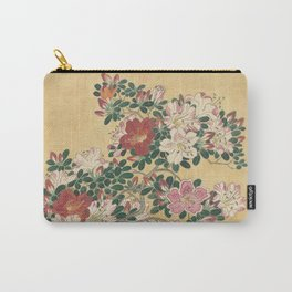 Vintage Flowers Azalea Japanese Painting Carry-All Pouch