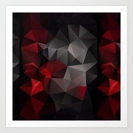 Polygon red black triangles . Art Print