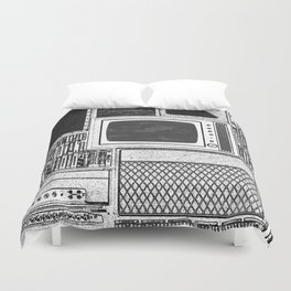 Vhs Tapes and Vinyl Collection with TV Glitch Duvet Cover