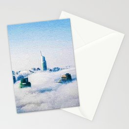 Dubai skyline topped in morning clouds landscape Stationery Cards