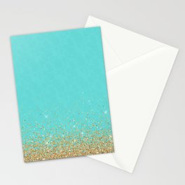 Sparkling gold glitter confetti on aqua teal damask background Stationery Cards