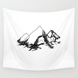Mountain Sketch Wall Tapestry