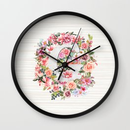 Initial Letter G Watercolor Flower Wall Clock