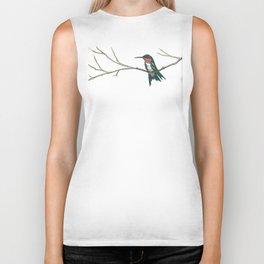 Hummingbird on a branch Biker Tank