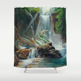 Fishing fantasy dragon Shower Curtain