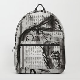 Wanderlust - Charcoal on Newspaper Figure Drawing Backpack