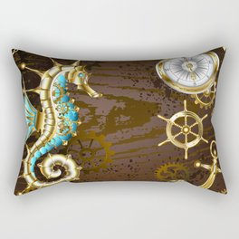 Wooden Background with Mechanical Seahorse ( Steampunk ) Rectangular Pillow
