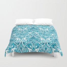 #MERMLIFE Blue Ikat Watercolor Mermaids Duvet Cover