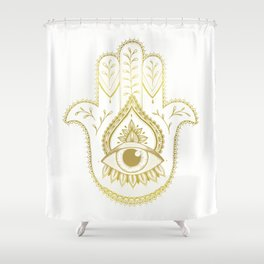 Hamsa Hand - Gold Shower Curtain