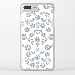 Silver gray symmetric floral bird heart Clear iPhone Case