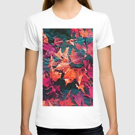 Colorfull Autumn water leaves T-shirt
