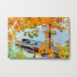 Boat Under Falling Leaves Metal Print