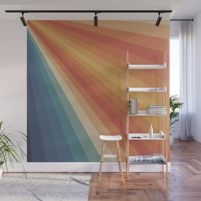 Retro 70s Sunrays Wall Mural