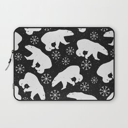 Polar Bears and Snowflakes - black Laptop Sleeve